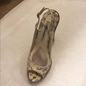 Brian Atwood snakeskin wedges
